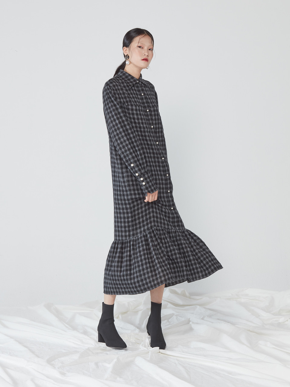 MAXI SHIRT DRESS _ GINGHAM CHECK