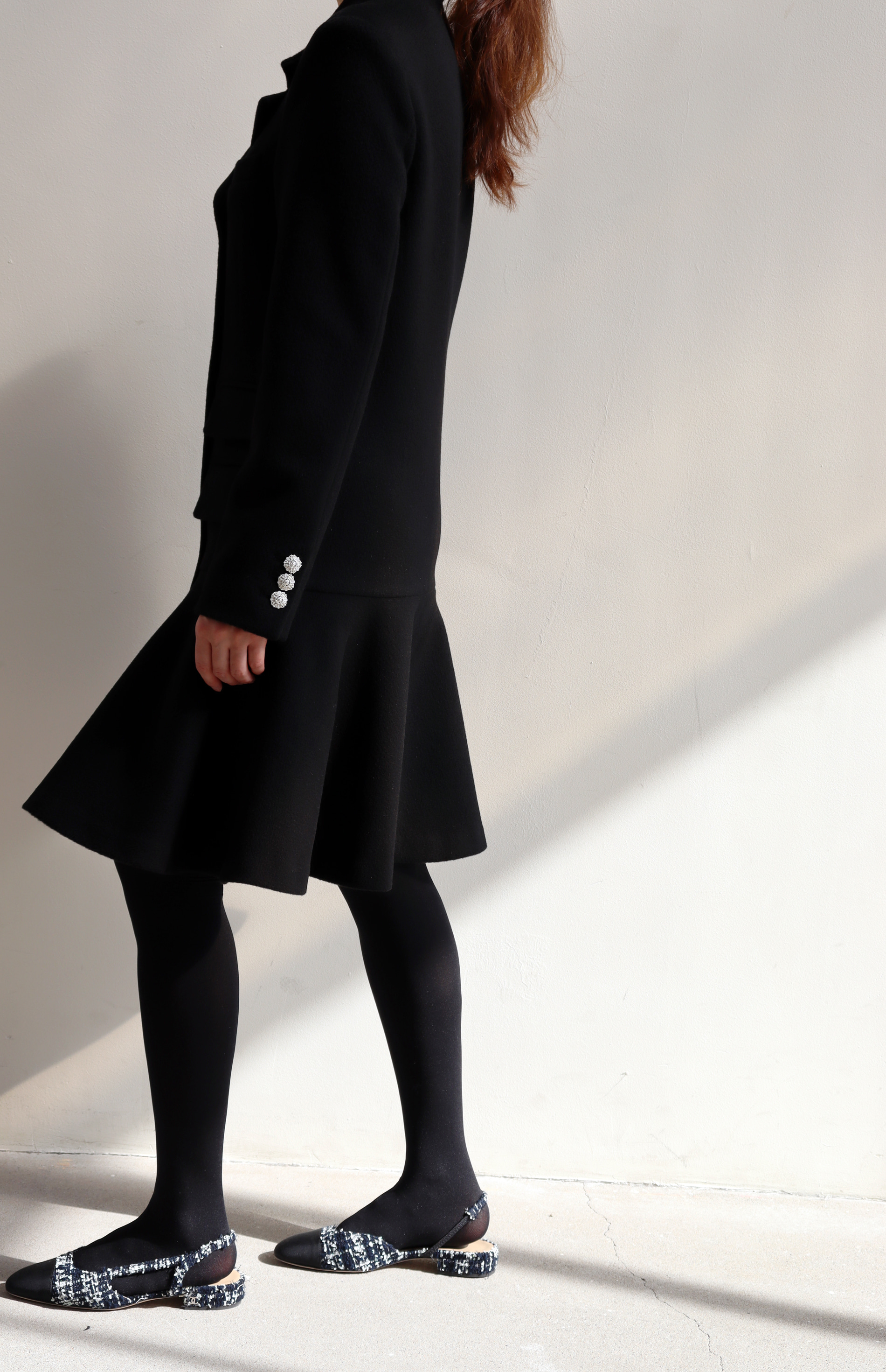 FLARE JACKET DRESS _ BLACK WOOL
