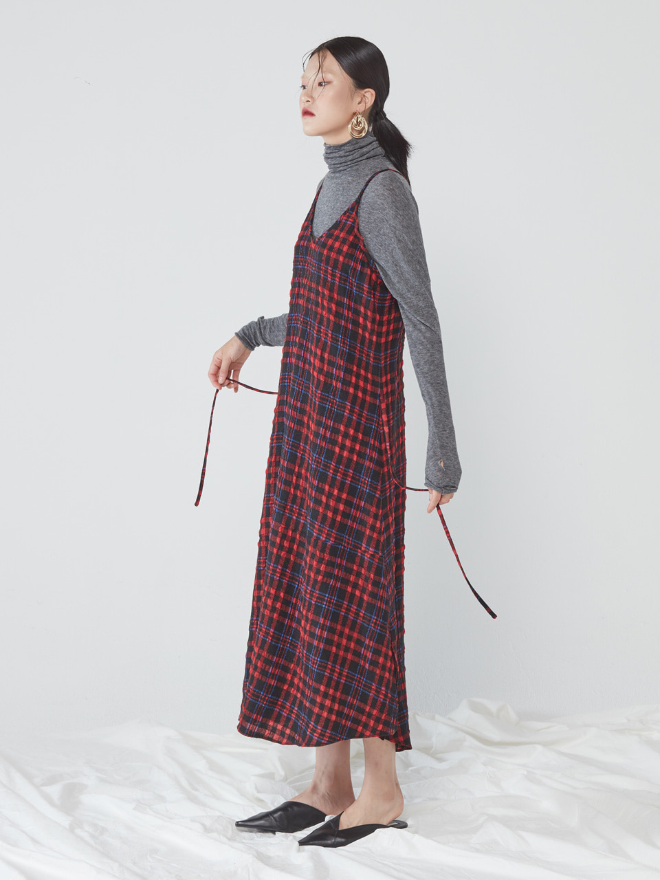 [WINTER SALE 10%] LONG SLIP DRESS _ RED CHECK