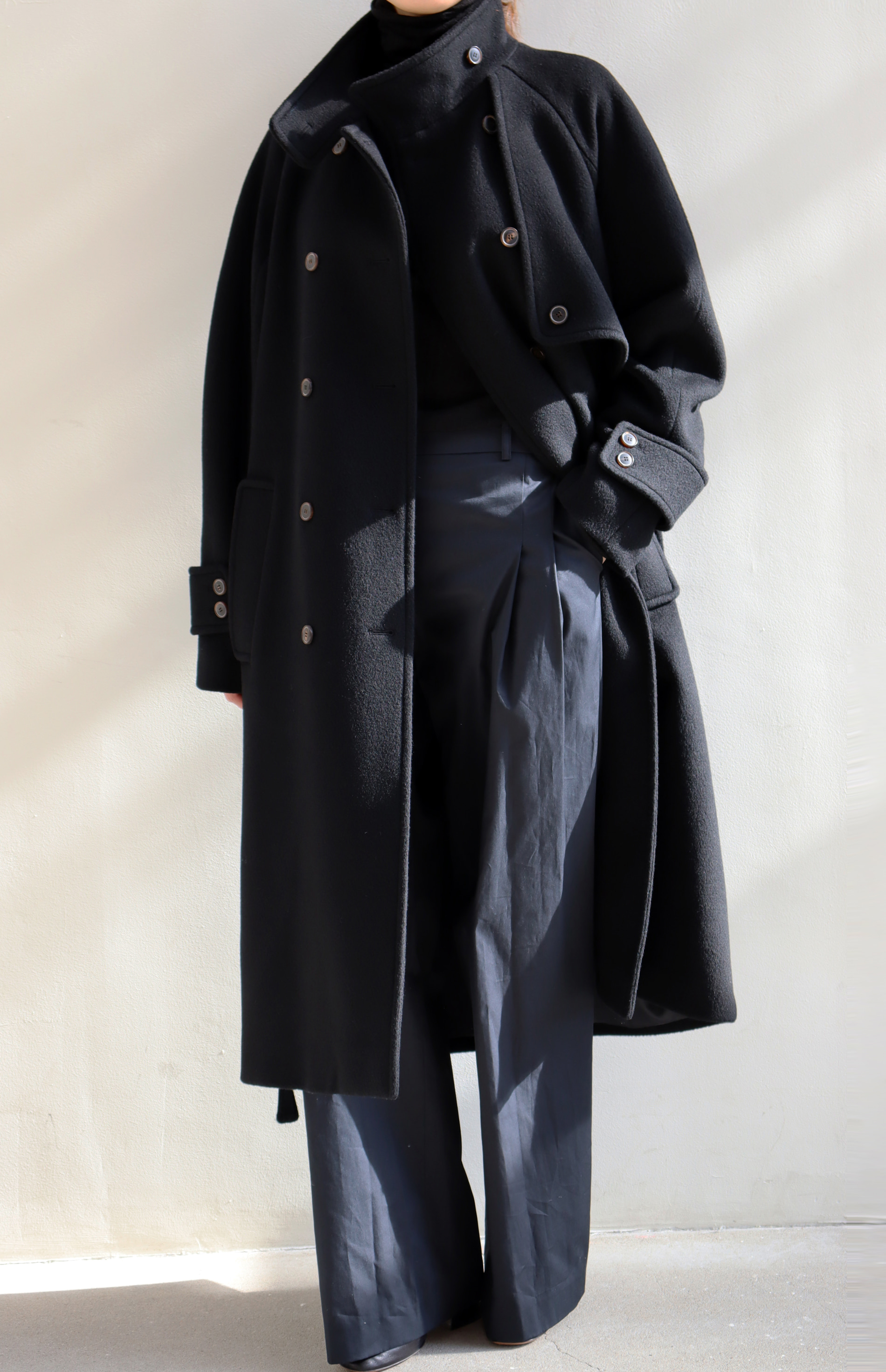 HIGH NECK WOOL COAT _ BLACK