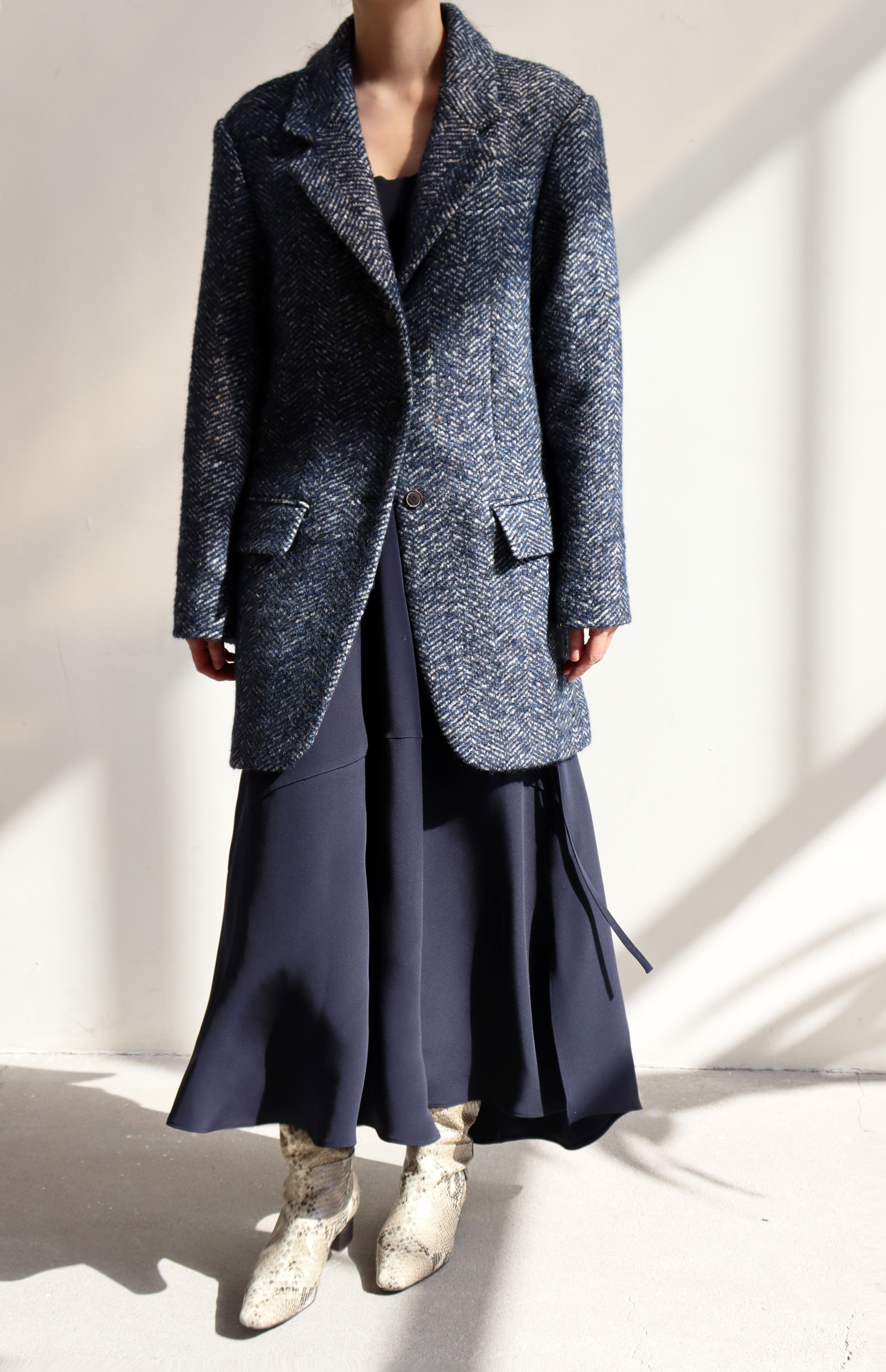 DADDY COAT _ BLUE HERRINGBONE